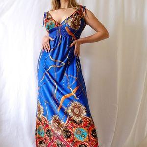 Cobalt blue orange empire chain print maxi dress